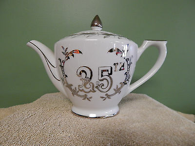 Vintage 25Th Teapot 6-1/3 Tall Silver Art #279N Lefton China Japan Mint