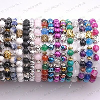 Wholesale 8MM Natural Gemstone Round Beads  Buddha Head Stretchy Bracelets