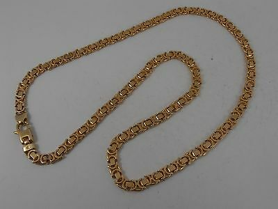 "9ct YELLOW GOLD FLAT BYZANTINE NECK CHAIN NECKLACE. 18"" LONG"
