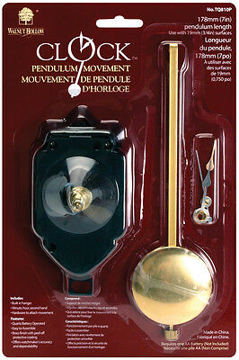 """Walnut Hollow Pendulum Clock Movement 7"""" Replacement (Use with 3/4"""" surface)"""