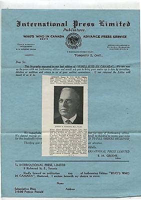 Old 1920's Letterhead International Press Limited Toronto On James  A. Knight