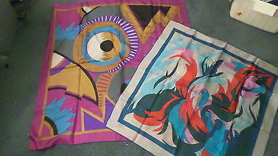 2 Colorful Vintage Abstract Design Scarves 1 Perry Ellis Scarf