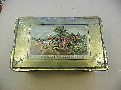 "antique ""The Quorn in Full Cry"" Fox Hunting metal tin, ""The QUORN HUNT"".."
