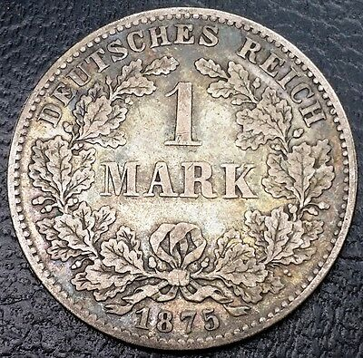 1875D Germany Empire 1 Mark 90% Silver Coin - Km# 7 - Xf Condition