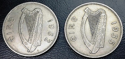 1955 & 1962 Ireland Florin Coins - Great Condition - Km#15A