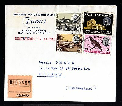 12838-ETHIOPIA-AIRMAIL REGIST.COVER ASMARA to BIENNE (switzerland)1964.Ethiopie