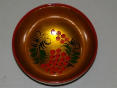 "Vintage Russian USSR Hand Painted Wooden Laquered Bowl w/ Label ~ 4.75"" Dia"