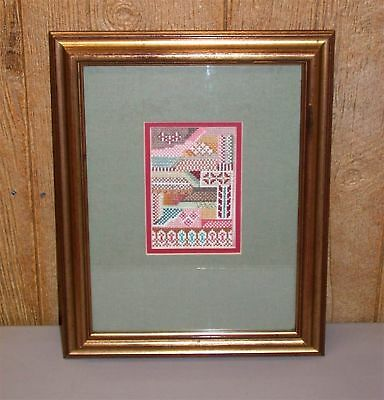 Vintage Palestinian Middle Eastern Tribal Embroidery Sampler ~ Matted and Framed