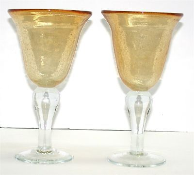 "(2) Heavy Large Decorative Glass Goblets ~ Clear & Gold ~ 8.25"" H x 4.5"" Diam"
