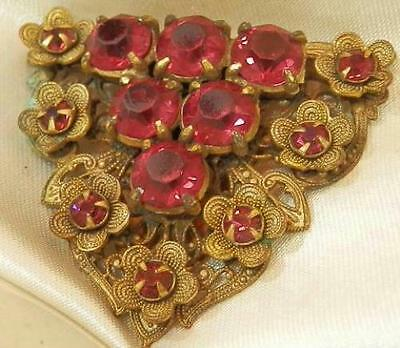 Fabulous Vintage 20's Red Crystal Rhinestone Flower Dress Clip 103S6