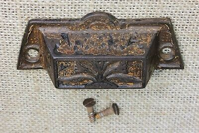 "old Bin Drawer Pull door handle 3 5/8"" cast iron rustic paint vintage Eastlake"