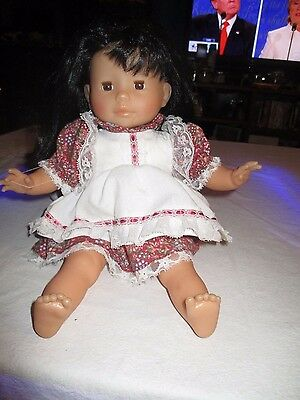 "Beautiful Corolle Toodler Doll Marked 94-12v 14g 14"" Black Hair Brown Eyes"