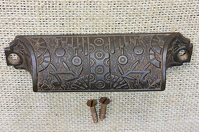 "Bin Pull drawer handle cup old antique windsor 4 1/4"" vintage highlights"