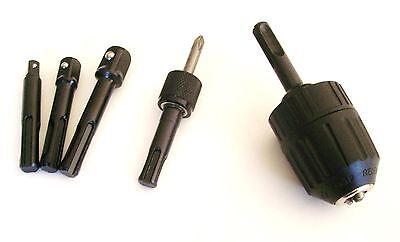 5pc SDS PLUS DRILL CONVERSION BITS POWER EXTENSIONS QUICK CHANGE & KEYLESS CHUCK