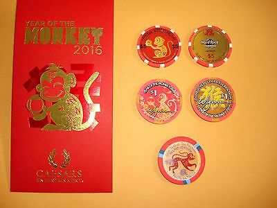 Set of 3 chips Year of the monkey  Chinese new year 2016 Wynn, Palace, Hard rock