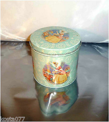 Vintage 1940's 1950's Lipton's Tea Tin Can, Blue with Girl in Flower Garden