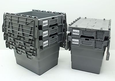 Used 5x Heavy Duty Plastic Storage Box Boxes With Folding Attached Lids Free P&P