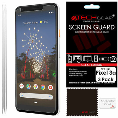 3 Pack of TECHGEAR CLEAR Screen Protector Covers For Google Pixel 3a