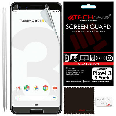 "3 Pack of TECHGEAR CLEAR Screen Protector Covers For Google Pixel 3 (5.5"")"