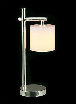 Dolls House Chrome Modern Table Lamp Drum Shade Miniature Electric Lighting 12V