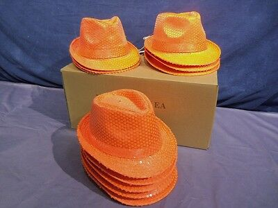 New 24 Hat Lot Neon Orange Fedora Party Hats With Sequins & Led Lights Wholesale