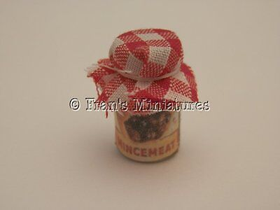 Dolls house food: Christmas jar of mincemeat  -By Fran