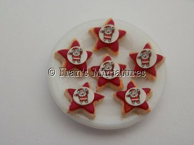 Dolls house food: Plate of Christmas star biscuits   -By Fran