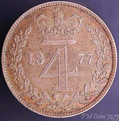 1877 Victoria Young Head Silver 925 Fourpence 4d maundy coin [7475]