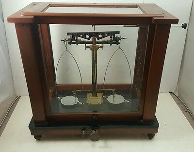 Antique VOLAND & SONS Analytical Apothecary SCALE with Full Glass Enclosure