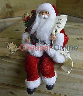 30cm Sitting Christmas Santa Claus Decoration With Dangling Movable Legs & List