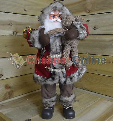60cm Standing Acrylic Festive Santa With Teddy Bear And Jingle Bell Hat