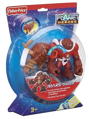 """Fisher Price Planet Heroes Mars """"digger"""" W/ Spinning Drill *new*"""