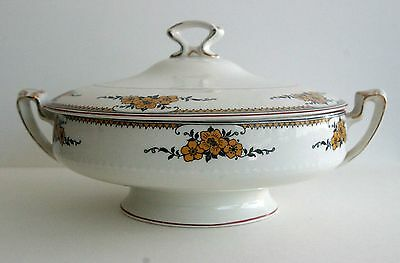 Alfred Meakin - Vintage porcelain covered, footed dish with yellow flowers