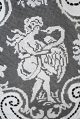 Antique Tablecloth Figural Cupids + Maidens Linen Cutwork Openwork + Embroidery