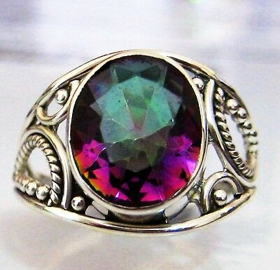 SOLID STERLING SILVER - 3.85CT GENUINE RAINBOW MYSTIC TOPAZ RING size 8
