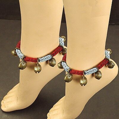 Pair (qty 2) BELLED ANKLETS BellyDance ATS Tribal Kuchi 791a11