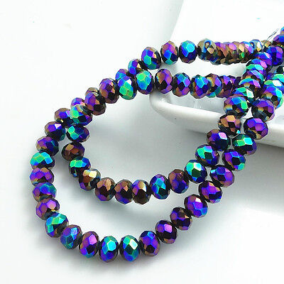 Wholesale  Rondelle Faceted Crystal Glass Loose Spacer Beads 3/4/6/8/10mm HB0107