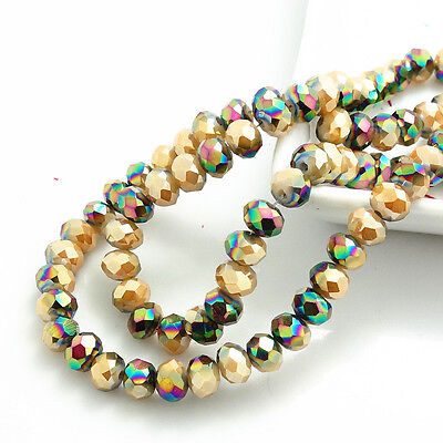 NEW color  Rondelle Faceted Crystal Glass Loose Spacer Beads 3/4/6/8/10mm HB0109