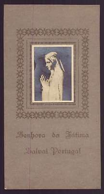 OUR LADY OF FATIMA Vtg HOLY CARD - Wax Paper