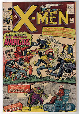 Marvel Comics VFN+ 8.5  X MEN  #9 1st lucifer Battle Avengers 1964  uncanny