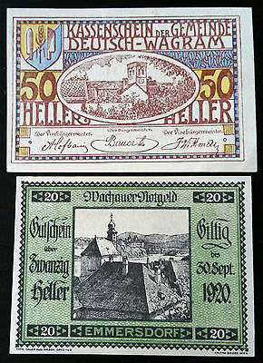 Collection Of Two 1920 Austria Heller Notes -  20 And 50 Hellers