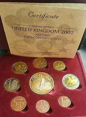 2002 Limited Ed. United Kingdom Pattern Euro Coin Collection In Case With  Coa
