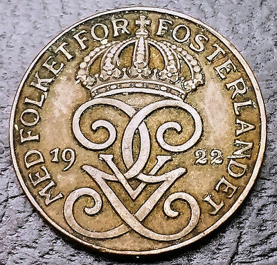 1922 Sweden 1 Ore Bronze Coin **Good Date** KM# 777 - FREE COMBINED S/H