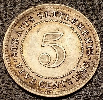 1898 Straits Settlements 5 Cents Silver - Low Mintage High Grade Coin