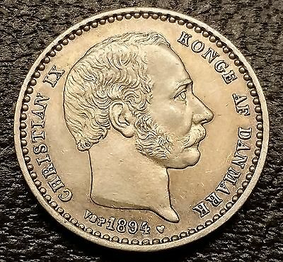 1894 Denmark 25 Ore - Very Low Mintage Old Silver Coin - High Grade