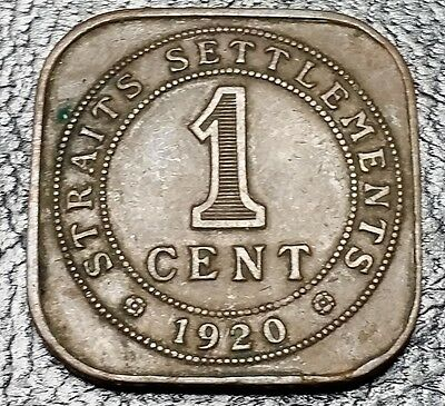 1920 Straits Settlements British 1 Cent Square Coin - Nice Grade