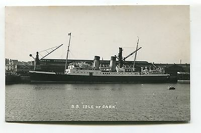 SS Isle of Sark - Channel Islands steamer - old real photo postcard