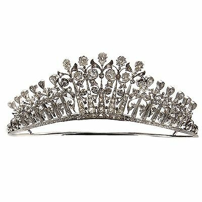 Antikes Diamant Diadem: Feine Diamant Tiara, 11,37 ct, Diamanten, um 1890 Gold