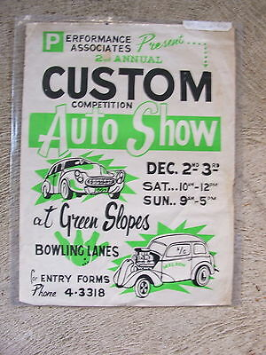 GREEN SLOPES QLD 2nd ANNUAL CUSTOM AUTO SHOW DEC 1967 ORIGINAL POSTER 38x50cm