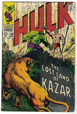 Marvel Comics THE INCREDIBLE HULK Issue 109 The Lost Land Of Ka-Zar VG+